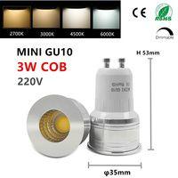 Llevó el bulbo de mini gu10 35mm proyector 3 W dimmable 110 V 220 V 240 V 12 V mr16 mr11 lugar ángulo para sala de estar dormitorio lámpara de mesa pequeña