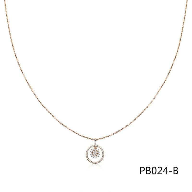 Both European Exquisite Rose Chain Korean Pure Silver Necklace Hair