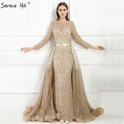 Fashion Mermaid Luxury Evening Dress Long Sleeves  Gliter  with train Evening Gowns 2019 Serene Hill LA6112