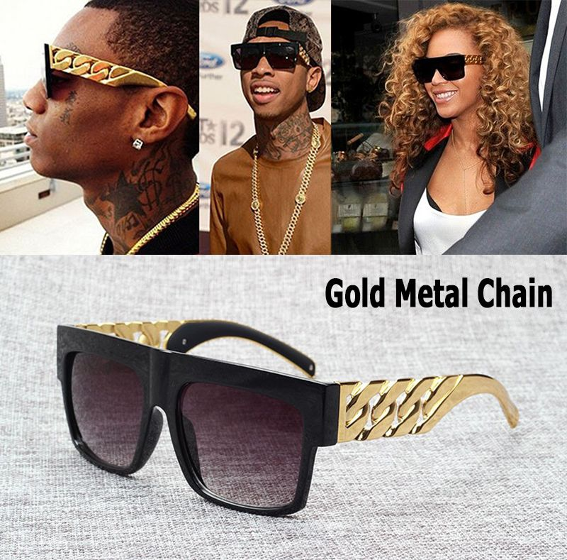 JackJad Mode Celebrity Inspiré Or Chaîne En Métal Kim Kardashian Beyonce lunettes de Soleil Vintage Hip Hop Soleil Lunettes Oculos De Sol