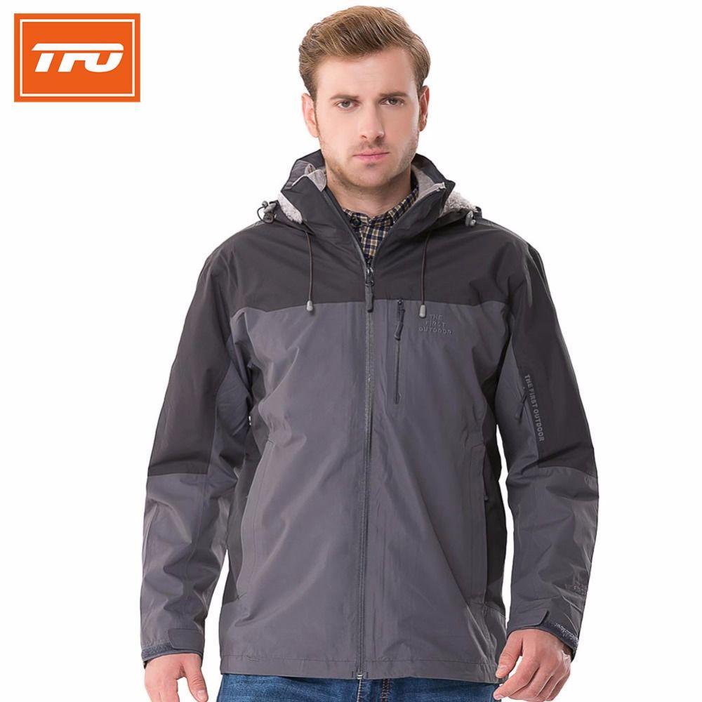 TFO Hommes randonnée veste 3 en 1 avec polaire intérieure manteau Sport Respirant veste de pluie en plein air Randonnée Escalade Veste Imperméable chaud