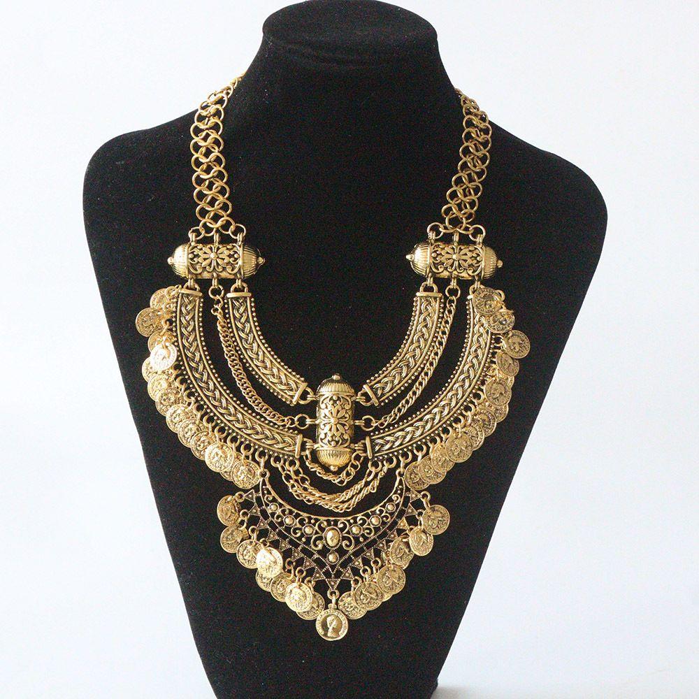Bohème puissance collier collier ras du cou or collier Vintage gitane ethnique déclaration collier Maxi bijoux pour les femmes 2018 mode