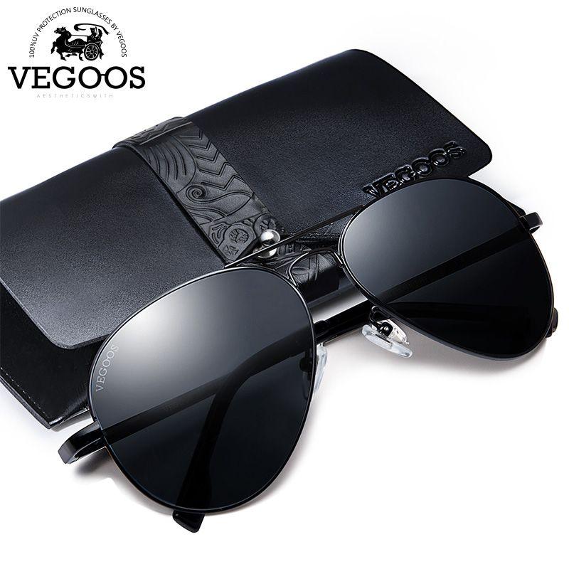 VEGOOS мужские поляризованные солнцезащитные очки для вождения солнцезащитные очки из нержавеющей стали Рамка авиация Oculos De Sol Masculino солнцеза...