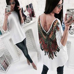 Señoras de las nuevas mujeres casual manga larga verano Tops blusa algodón gasa ropa verano Blusas negro blanco