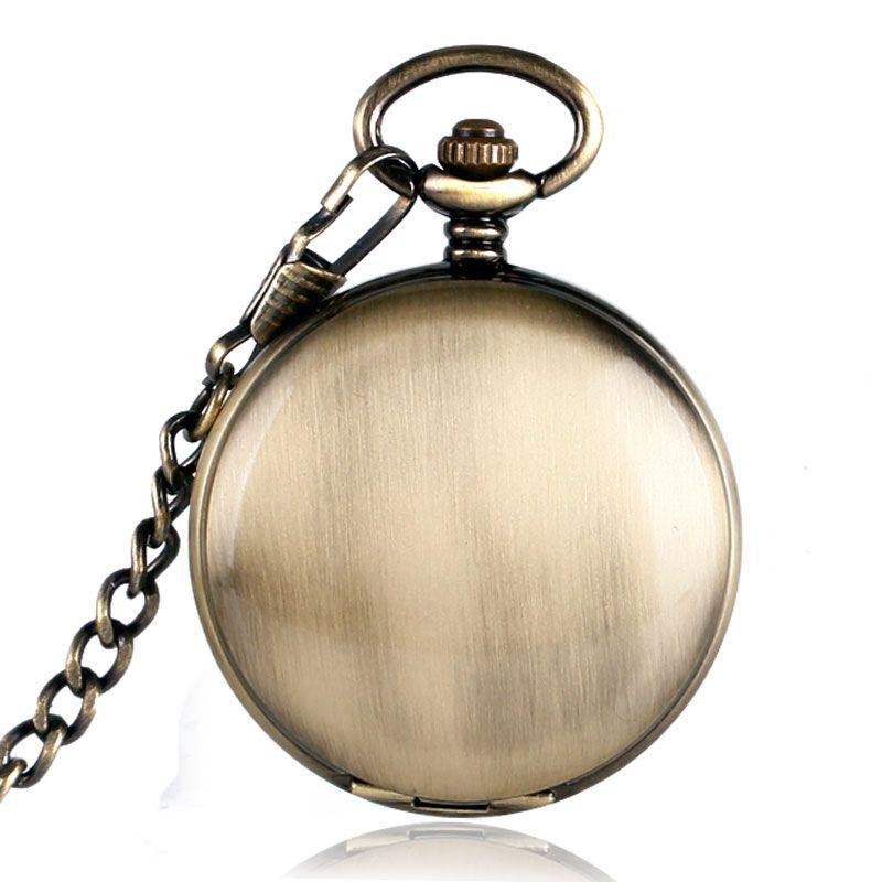 Caso Suave Collar de Cobre de Bronce de la vendimia Colgante Analógicas Números Romanos Hombres Mujeres Reloj de Bolsillo Mecánico Automático Noctilucentes