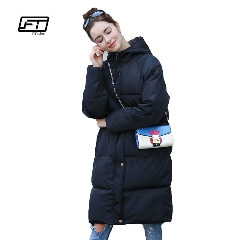 Fitaylor Winter Women Cotton Wadded Coats Loose Fit Plus Size Hooded Parkas Medium Long Snow Overcoats Padded Warm Quilt