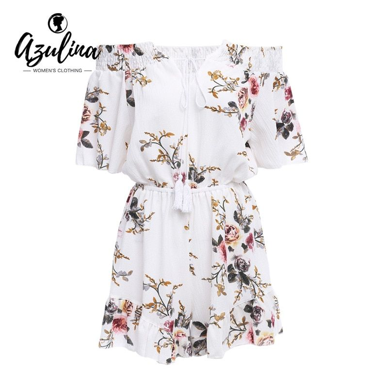 AZULINA Casual Off Shoulder Floral Print Women Romper Jumpsuit 2017 Summer Sexy Beach Loose Playsuits White Chiffon Overalls