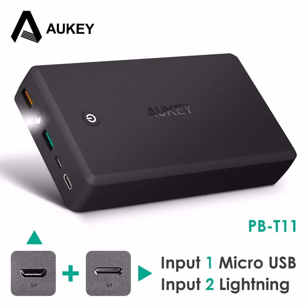 AUKEY 30000mAh Quick Charge 3.0 Power Bank Portable Dual Usb External Battery for Lightning&Micro Input Powerbank for Xiaomi etc