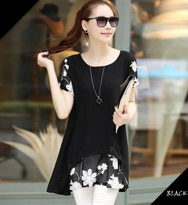 300 bon commentaire! S-5XL grande taille femmes Blouse d'été Style longue chemise en mousseline de soie dentelle broderie hauts amples manches courtes T5418