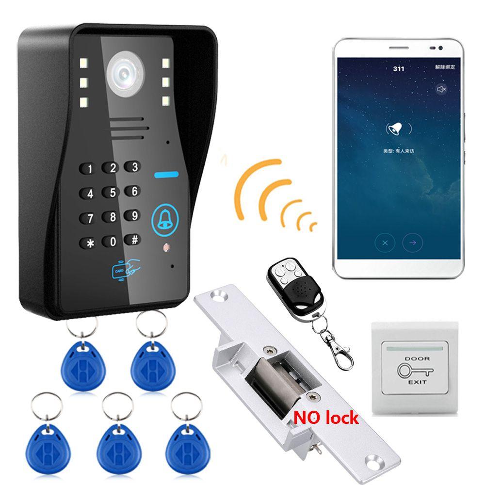 Drahtlose Wifi ip RFID Passwort Video-türsprechanlage Sprechanlage türklingel + Access Control System + KEINE Türöffner Tür schloss