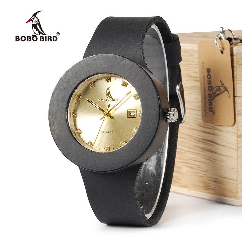 BOBO BIRD C03 Ebony Wooden Watch with Soft Leather Band Quartz Gold Analog Calendar High Quality Miyota Movement Accept OEM