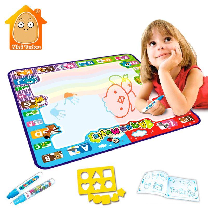Pädagogisches 78*78 cm Aquadoodle Matte 4 Farbe Mit 2 Wasser Stift Und Zeichnung Form Kinder Lernen Kunst Und handwerk Malerei Spielzeug