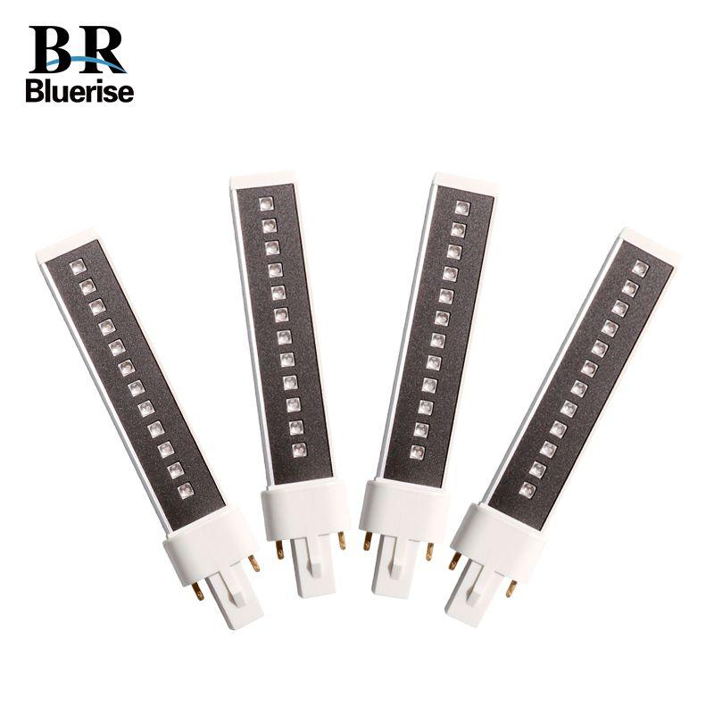 BLUERISE 4 pièces 9 W LED lampe UV remplacée LED s pour lampe à ongles ampoule 365 + 405nm Double lampe Tube pour manucure Nail Art sèche