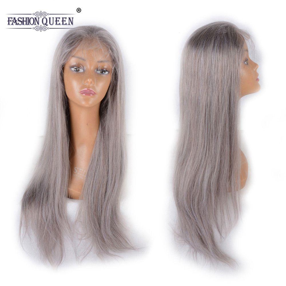 Mode Königin Haar Vor Gezupft Volle Spitze Menschliches Haar Perücken Mit Baby Haar Brasilianische Remy Haar Grau Gerade Spitze Perücke für Frauen