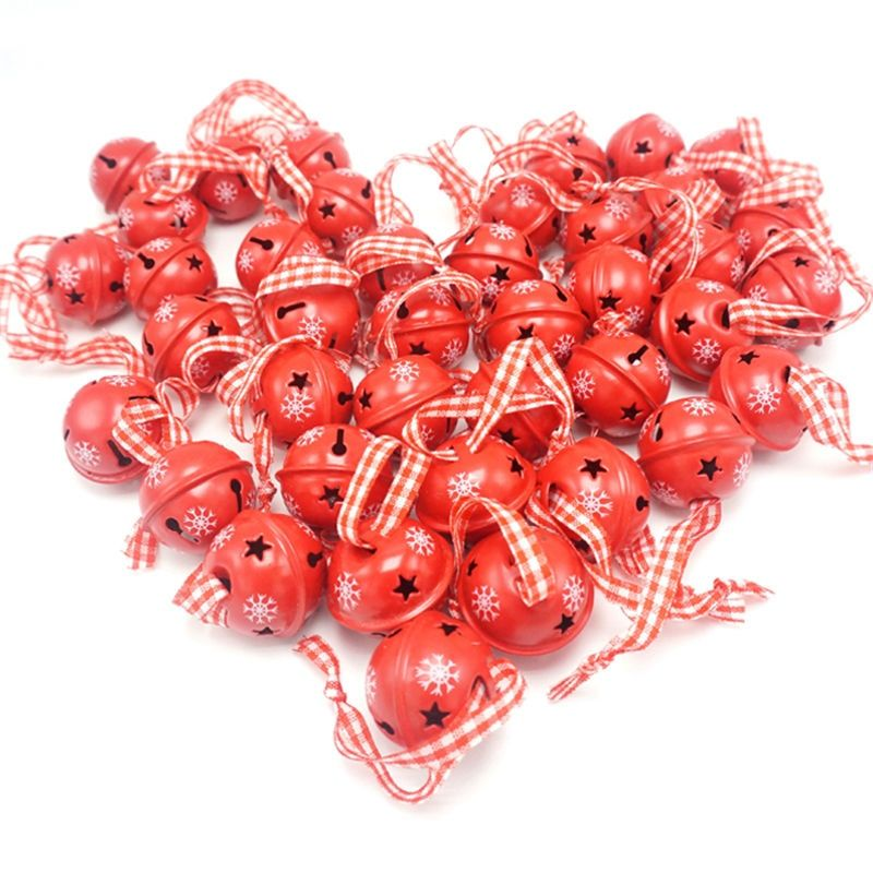 Décoration de noël 40 pièces rouge métal flocon de neige jingle cloche ornement de noël pour la maison 30mm fête décoration arbre pendentif 2019