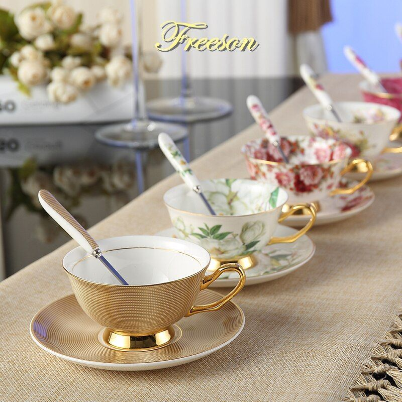 Europe Noble Bone <font><b>China</b></font> Coffee Cup Saucer Spoon Set 200ml Luxury Ceramic Mug Top-grade Porcelain Tea Cup Cafe Party Drinkware