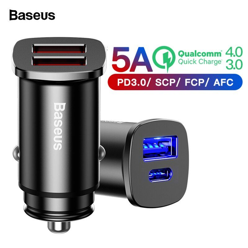 Baseus Quick Charge 4.0 3.0 USB Car Charger For Xiaomi mi 9 Huawei Supercharge QC QC4.0 QC3.0 Type C PD Fast Car Phone Charging