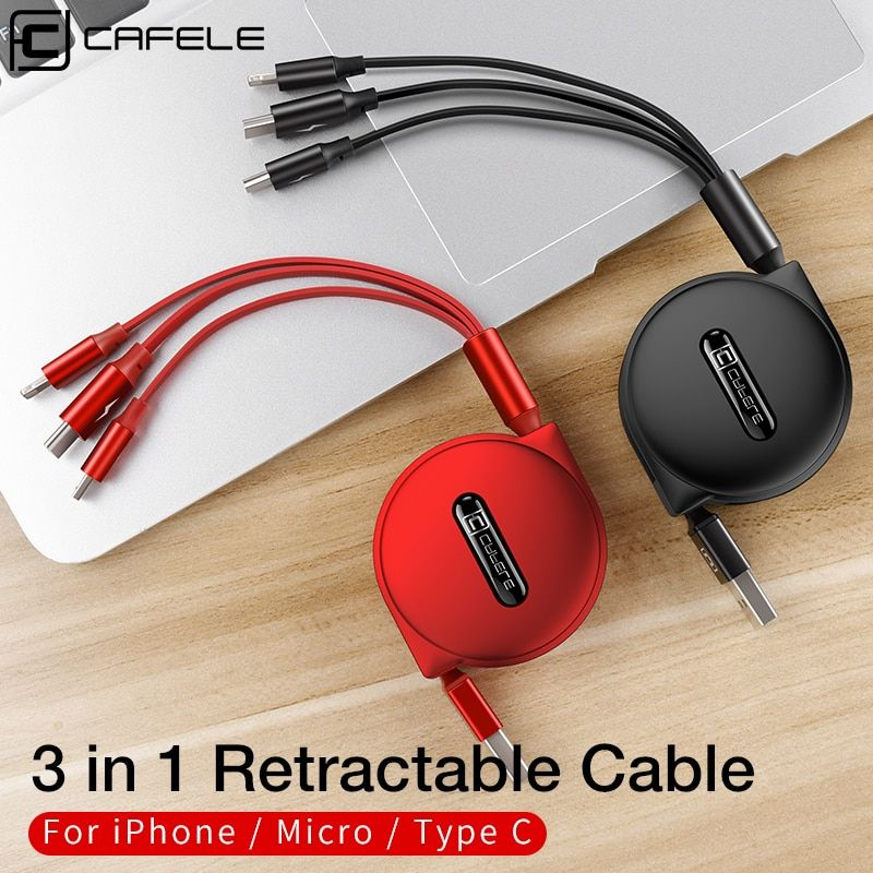 CAFELE Micro USB Cable Phone Charging Cable Type-C Cable 3 in 1 for iphone Samsung Huawei Xiaomi Phones Retractable Data Sync