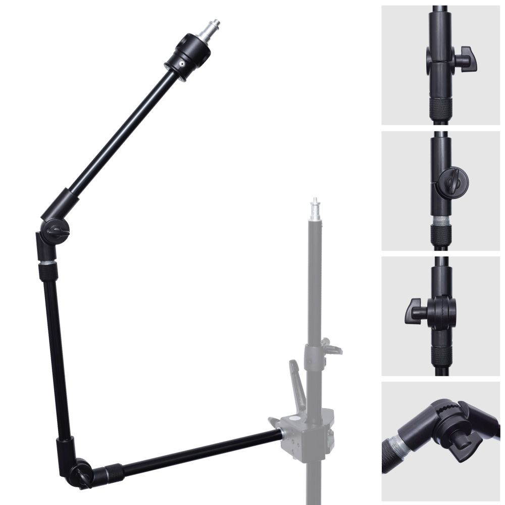 3-Section 360 Degree Adjustable Articulated Articulating Boom Arm w/ 1/4