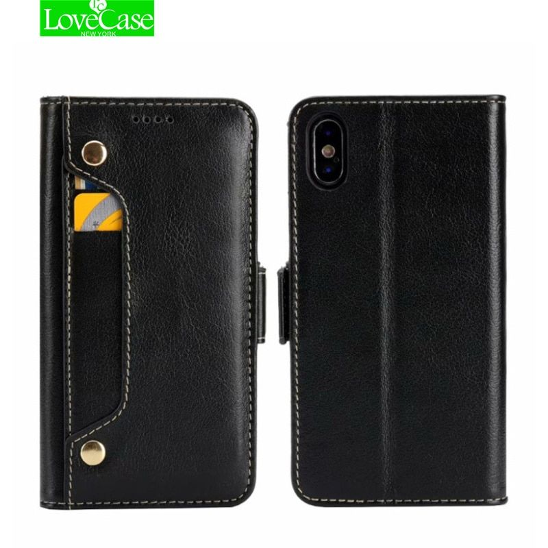 LoveCase IX Real Genuine Leather Phone Bag Case For iPhone X 8 7 Plus 6 6S Plus Cell Phone Card Holder Flip Cover Cases Newest