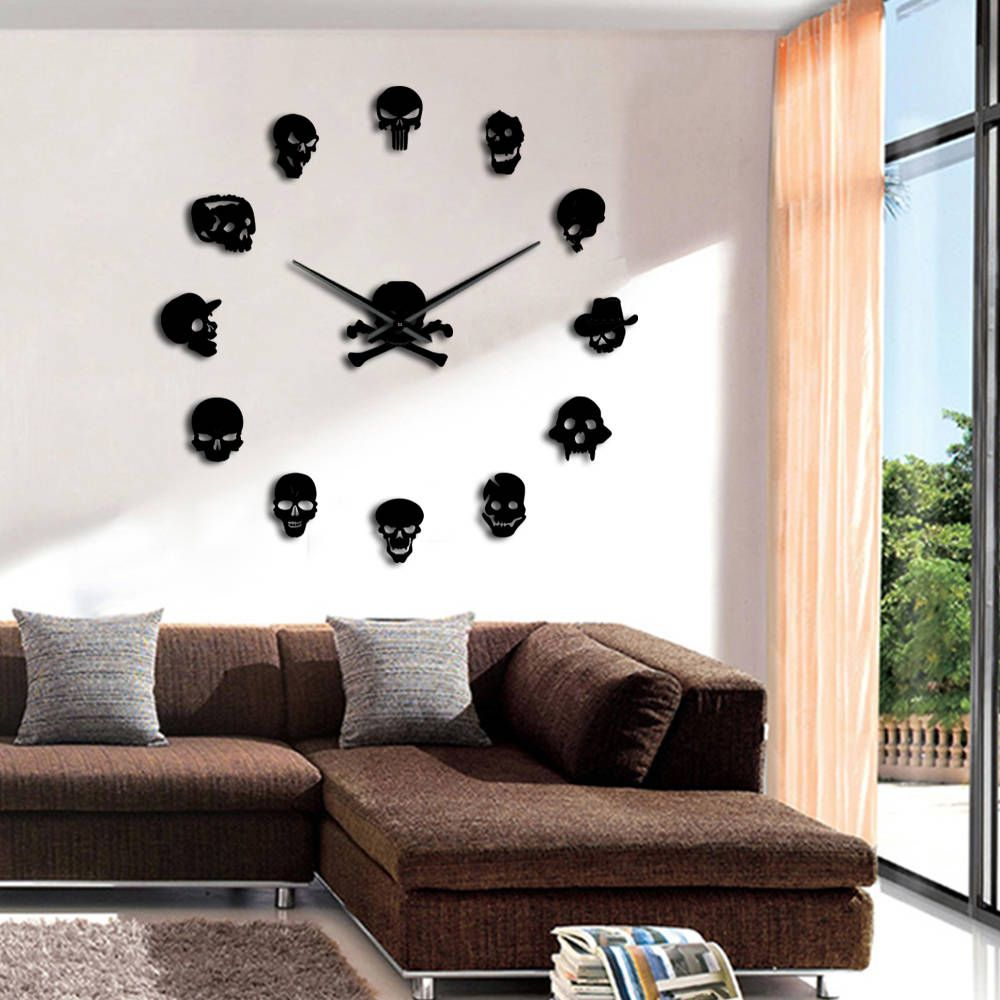 Skulls Frameless Diy Large Morden Wall Clock Da Parete Quartz Clock Interior 3d Mirror Watches Living Room Home Decor Wandklok