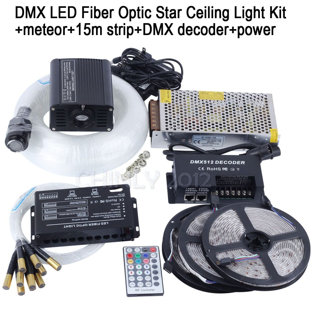 DMX 16W RGBW LED Fiber Optic Star Ceiling Kit Light mixed 335 strands 4m , 0.75mm+1.0mm+1.5mm+meteor+15m strip+DMX decoder+power
