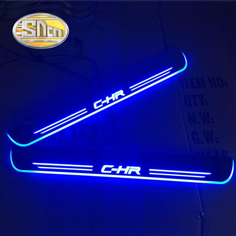 SNCN Acrílico Movimiento LED Placa Del Desgaste Del Pedal Bienvenido Coche de Pedales Travesaño de la puerta Camino de Luz Para Toyota C-HR CHR 2016 2017 2018