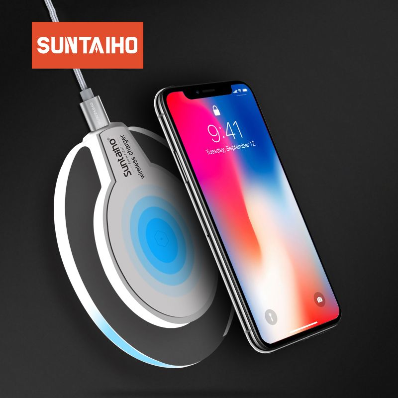 Qi Wireless Charger for Samsung S10 Galaxy S9Plus Xiaomi mi 9 Suntaiho Fashion Charging Dock Cradle Charger for iphone XS MAX XR