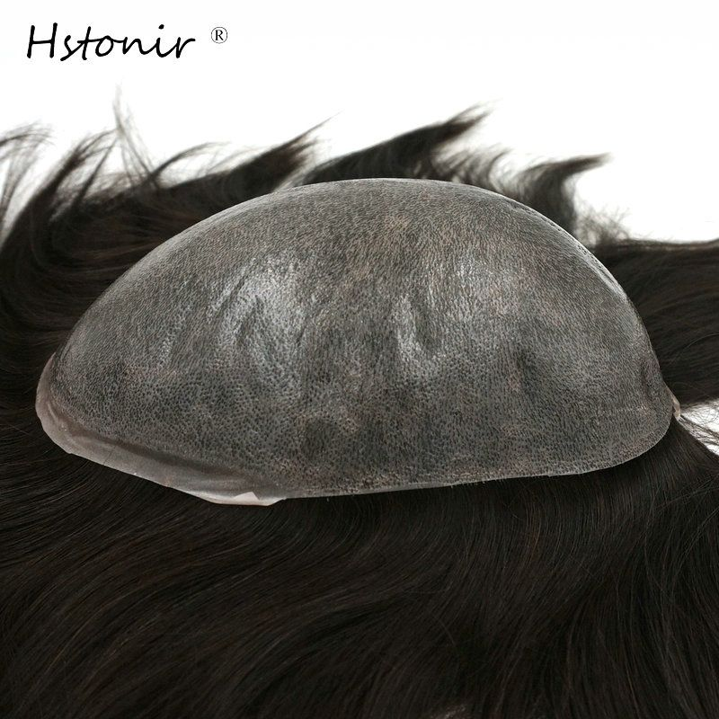 Hstonir Long Hair Natural Men And Women Wigs European Hair Injection Thin Skin Soft Toupee H076