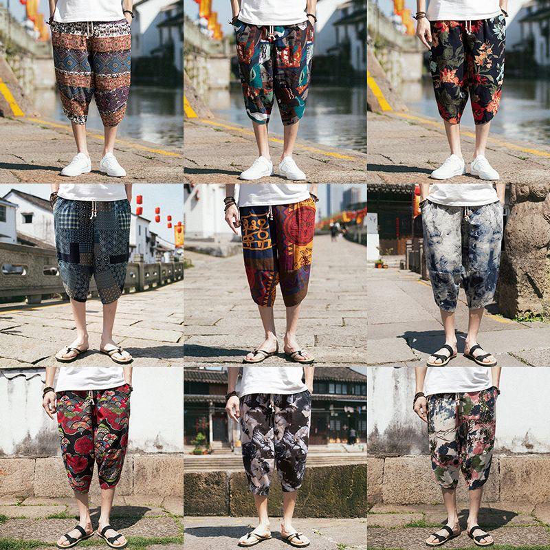 Sinicism Store Harajuku 5XL Harem Pants Men 2019 Summer Cotton Linen Vintage Joggers Baggy Japanese Streetwear Casual Sweatpant