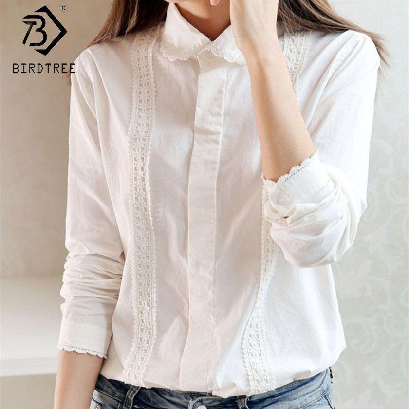 Chemisier blanc femmes travail porter bouton haut dentelle col rabattu manches longues haut en coton chemise de grande taille S-XXL blusas feminina T56302