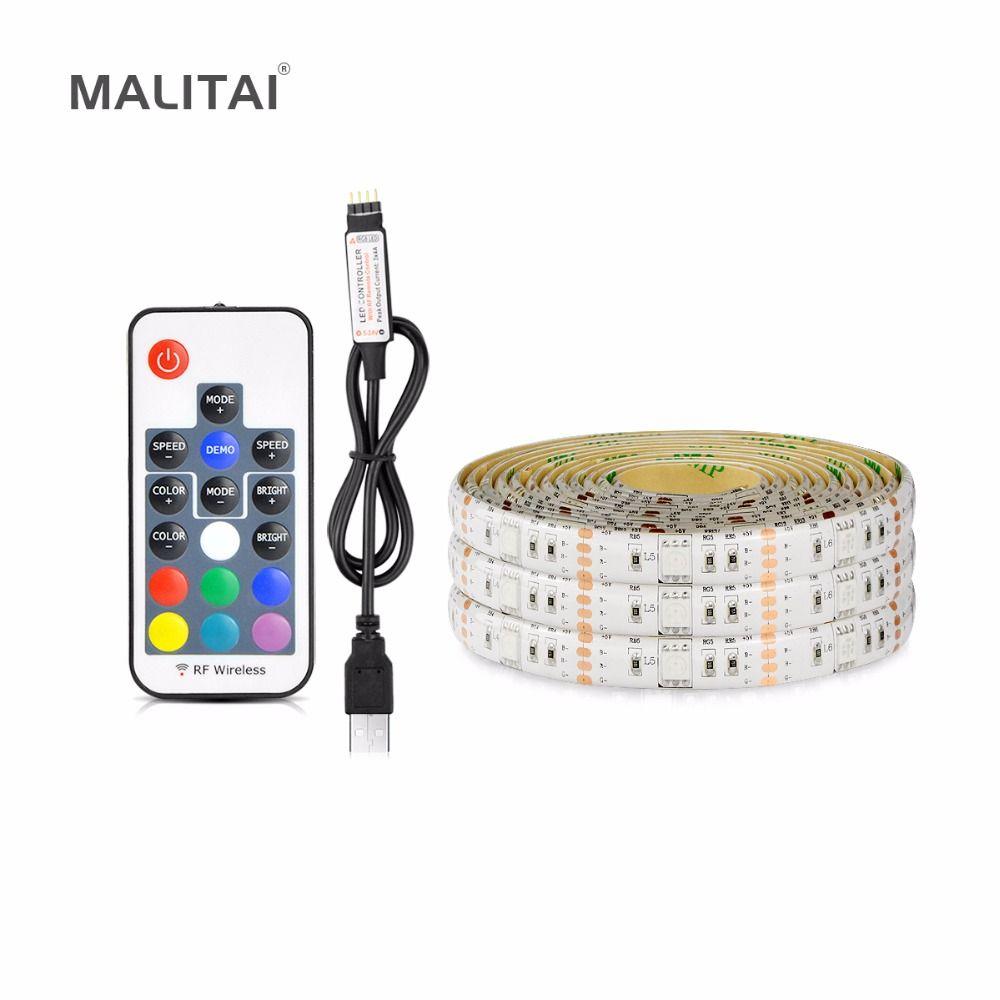 USB LED Strip Backlight lamp Tape Ribbon 5V RGB 1M 2M 3M 4M 5M 30LEDs/M Bias lighting Desktop Flat Screen LCD TV HDTV Monitor PC