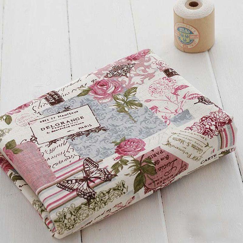 Zakka Lin 50 cm * 140 cm Fleur et Papillon Lin Tissu Fat Quarter Bundle Vintage Quilting Patchwork Tilda Fbric à coudre artisanat