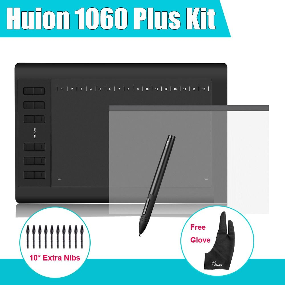 Huion 1060 Plus Graphic Drawing Digital Tablet w/ Card Reader 8G SD Card 5080 LPI 12 Express Key + Protective Film +Parblo Glove