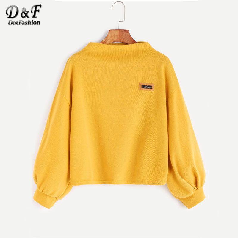 Dotfashion Funnel Neck Lantern Sleeve Patch Solid Sweatshirt Women 2017 New Kawaii Autumn Yellow Pullovers Sweatshirt