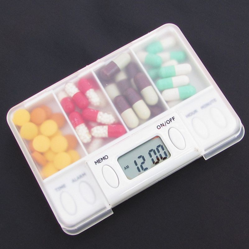 4 Grid Intelligent Plastic Storage Box Electronic Timing Reminder Medicine Boxes Alarm Timer Pills Desk Organizer Pill Container