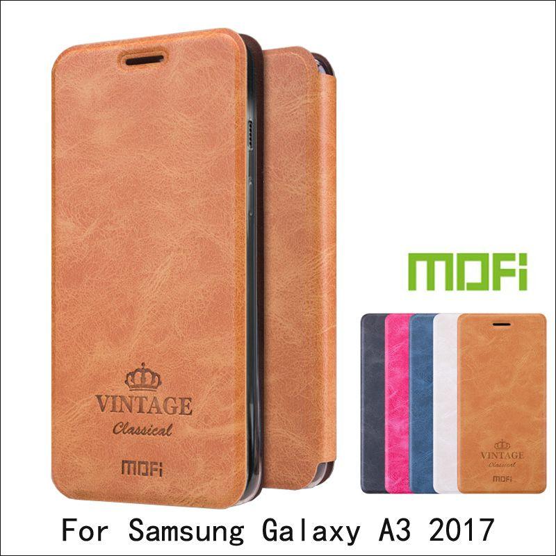 Mofi Pour Samsung Galaxy A3 2017 Cas Livre En Cuir Flip Couverture Pour Samsung A3 2017 De Protection Téléphone Cas
