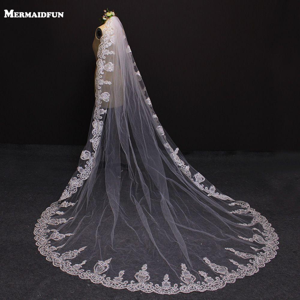 2019 une couche dentelle bord 3 mètres Bling paillettes cathédrale mariage voile avec peigne 3 M blanc ivoire mariée voile limace