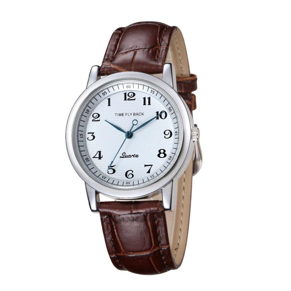 Montre pour hommes histoire du temps antihoraire classique mode affaires montres à Quartz montre en cuir véritable bracelet montre hommes étanche