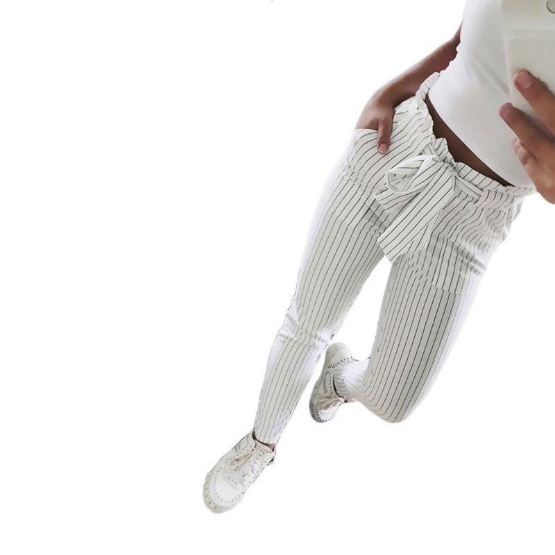2018 nouveau rayé OL en mousseline de soie taille haute harem pantalon femmes filyselvedge été style pantalons décontractés femme pantalon