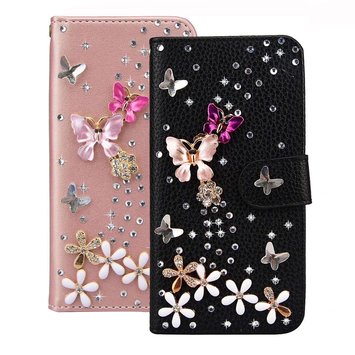 Luxe PU Cuir Flip Cas Pour Samsung Galaxy A3 A5 J3 J5 J7 2016 2017 S7 Bord S8 Plus cas Bling 3D Diamant Papillon Floral