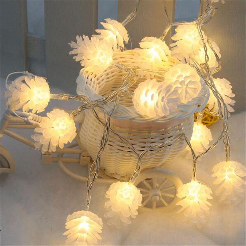 4 m/20 led Coloré Modélisation Guirlande LED Pomme De Pin Clignotant Lumières De Noël Guirlandes pour la Fête de Vacances De Décoration De Mariage