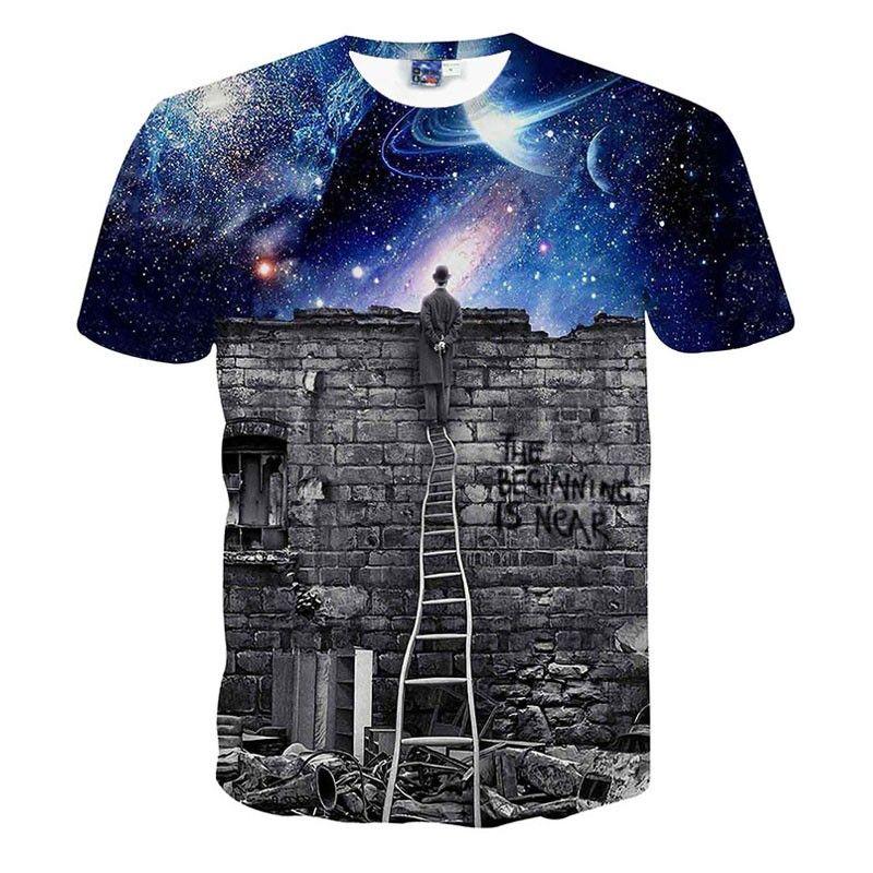 Hommes/femmes Galaxy Space T-Shirt imprimer le magicien à regarder ciel nocturne 3D T-Shirt décontracté unisexe t-shirts Harajuku Tee hauts