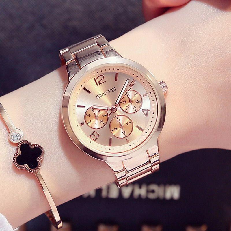 GIMTO Small Brand Rose Gold Women Watch Steel Luxury Ladies Watch Creative Girl Quartz Wristwatch Clock <font><b>Montre</b></font> Relogio Feminino