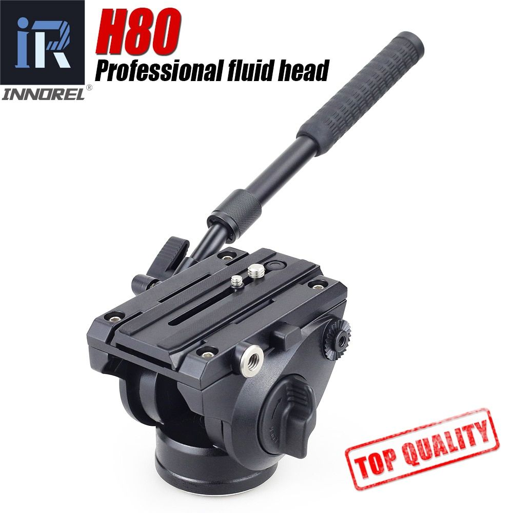 H80 Video Fluid Head Hydraulic Damping DSLR Tripod Monopod Manfrotto 501PL Bird Watching 2 sections handle Panoramic head 360