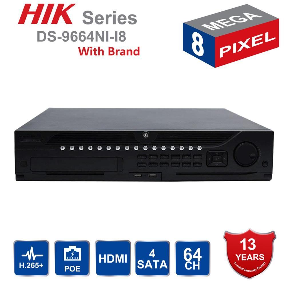 In Lager Hik Professionelle 64 Kanal CCTV System DS-9664NI-I8 Embedded 4 K NVR Bis zu 12 Megapixel Auflösung 8 SATA 2 HDMI
