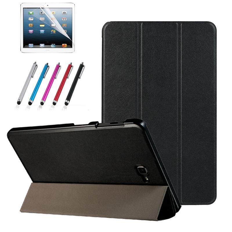 Magnétique stand pu couverture en cuir cas pour Samsung Galaxy Tab A6 10.1 2016 T585 T580 SM-T585 T580N funda cas + film + stylus