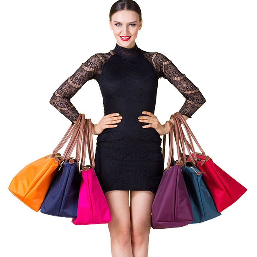 HOT! Designer Women shoulder bags WaterProof leather folded messenger nylon bag dumplings sac tote folding school handbags bolso