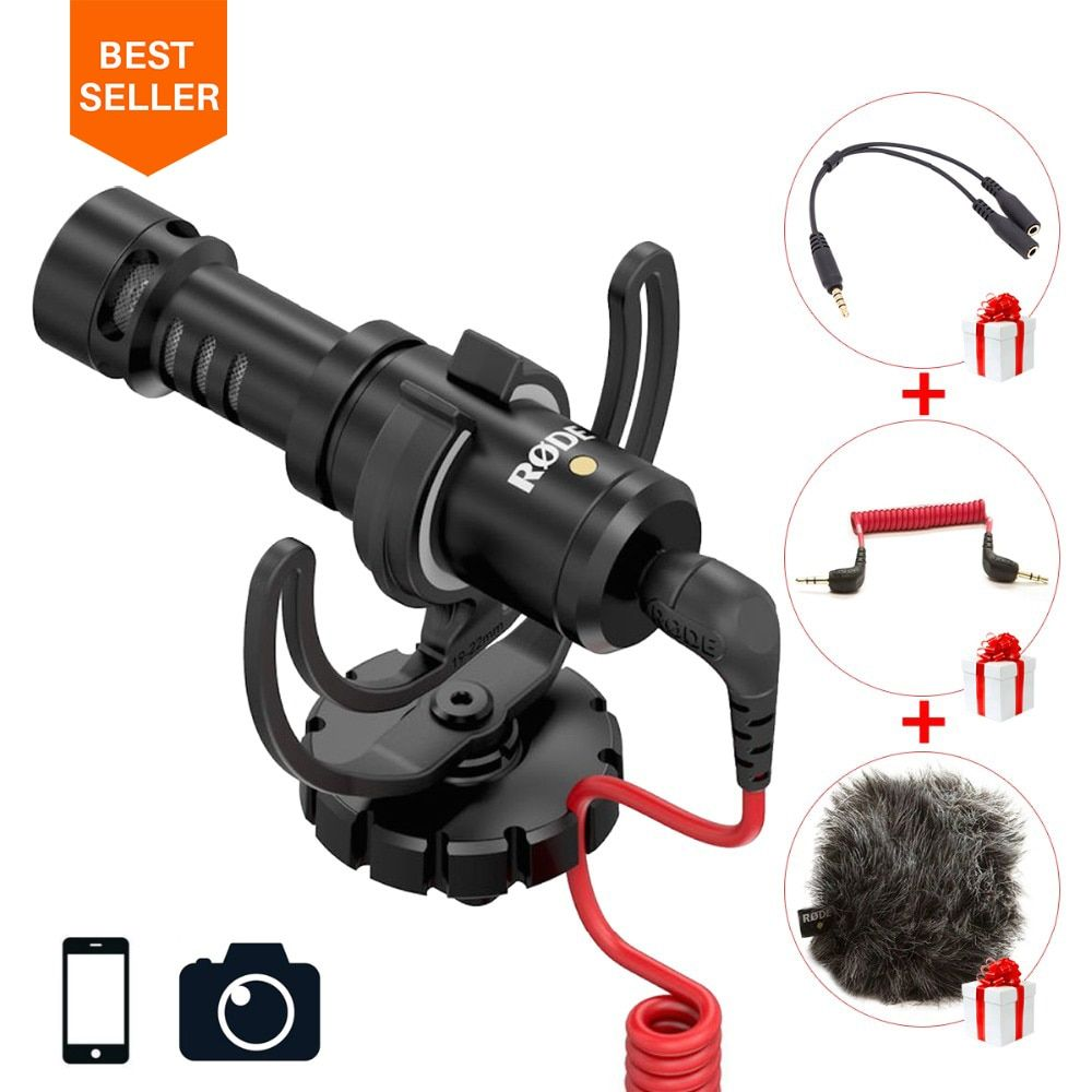 Ulanzi Original Rode VideoMicro On-Camera Microphone for Canon Nikon Lumix Sony <font><b>Smartphones</b></font> Free Windsheild Muff/Adapter Cable