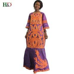 H & D new African Dessins De Mode Africain Riche Bazin Dame de Robe traditionnelle Longue Dashiki Afrique Robes Pour Femmes plus la Taille